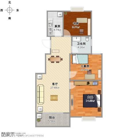 佳家花园3室1厅1卫1厨102.00㎡户型图