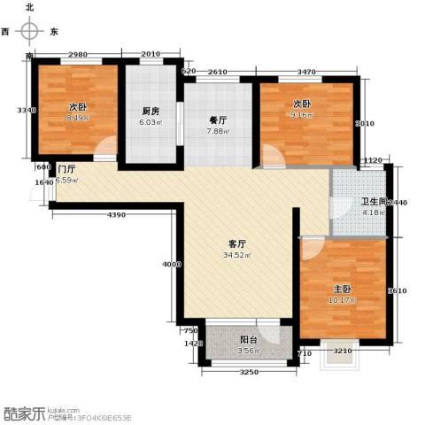 滨湖国际3室2厅1卫0厨109.00㎡户型图