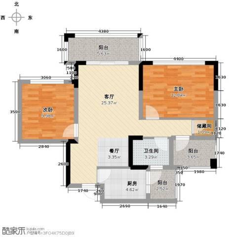 知汇华庭2室2厅1卫0厨88.00㎡户型图
