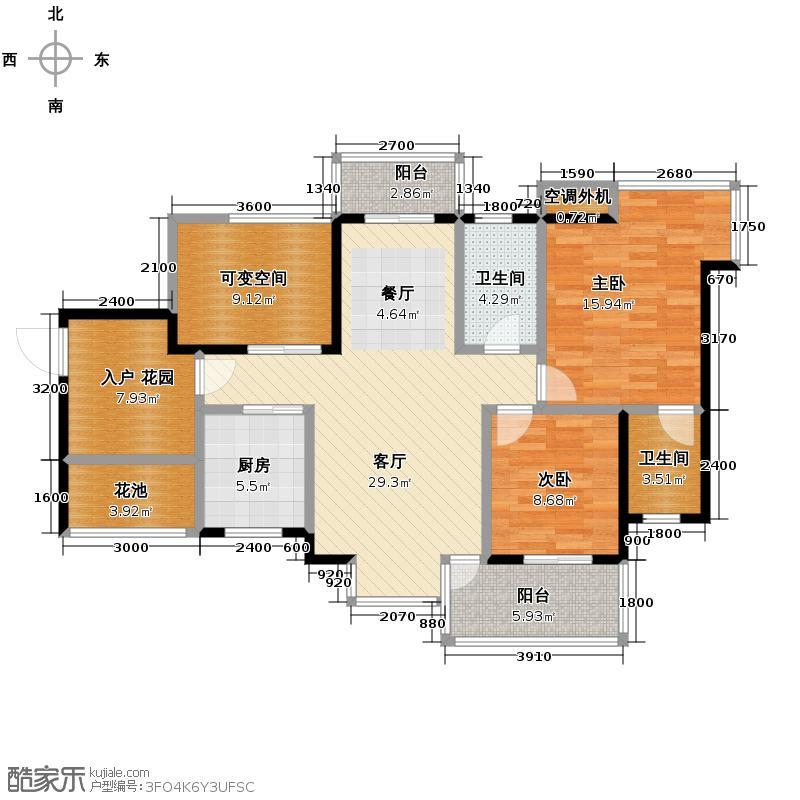 韵动康城101.25㎡二期双卫户型10室