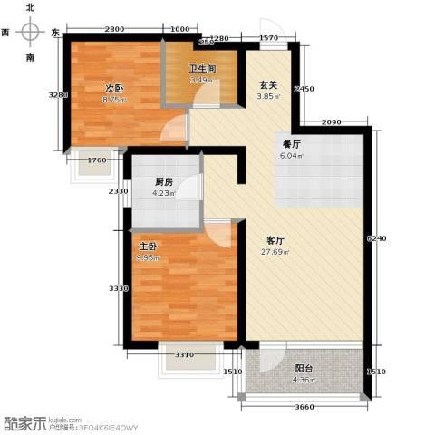 滨湖国际2室2厅1卫0厨84.00㎡户型图