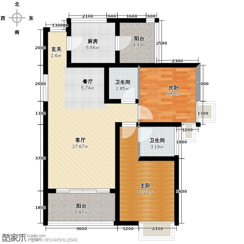 中凯翠海朗园83.05㎡户型2室1厅2卫1厨
