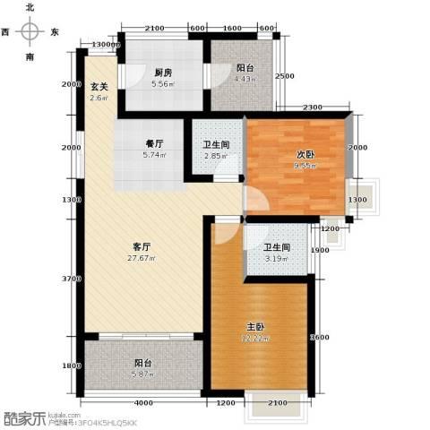 中凯翠海朗园2室1厅2卫1厨104.00㎡户型图