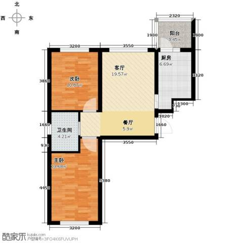 鑫展水岸2室2厅1卫0厨78.00㎡户型图