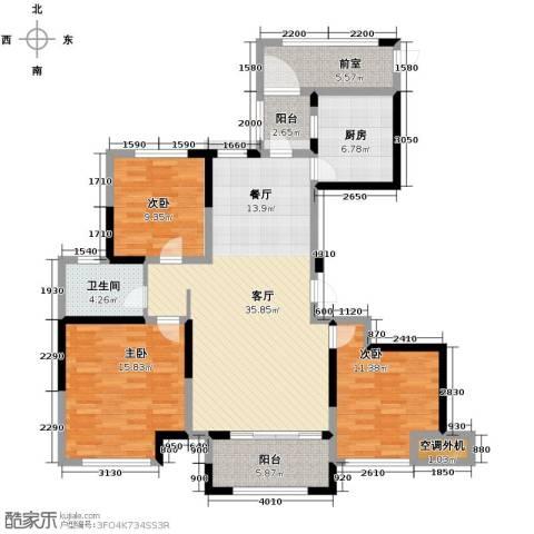 蚌埠绿地中央广场3室2厅1卫0厨118.00㎡户型图