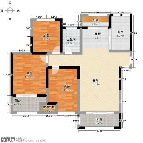 蚌埠绿地中央广场3室2厅1卫0厨108.00㎡户型图
