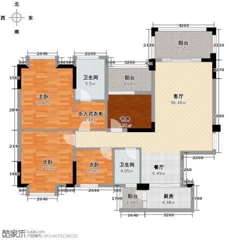 知汇华庭4室2厅2卫0厨138.00㎡户型图