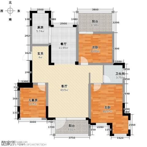 金地滟澜山3室2厅1卫0厨106.00㎡户型图