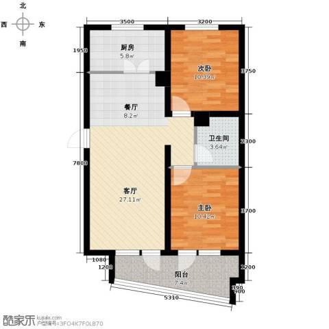 山海同湾2室2厅1卫0厨95.00㎡户型图