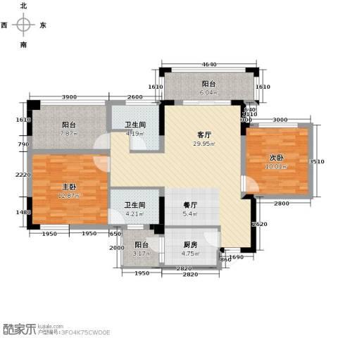 知汇华庭2室2厅2卫0厨103.00㎡户型图