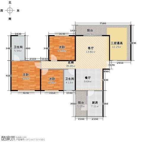 龙湾国际3室2厅2卫0厨152.00㎡户型图