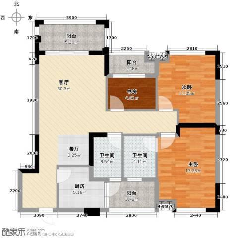 知汇华庭3室2厅2卫0厨103.00㎡户型图