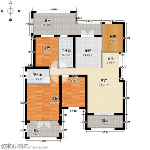 滨湖国际3室2厅2卫0厨161.00㎡户型图
