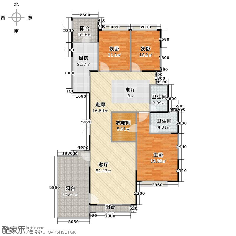 恒大名都175.00㎡46栋3-32层2号户型3室2厅2卫