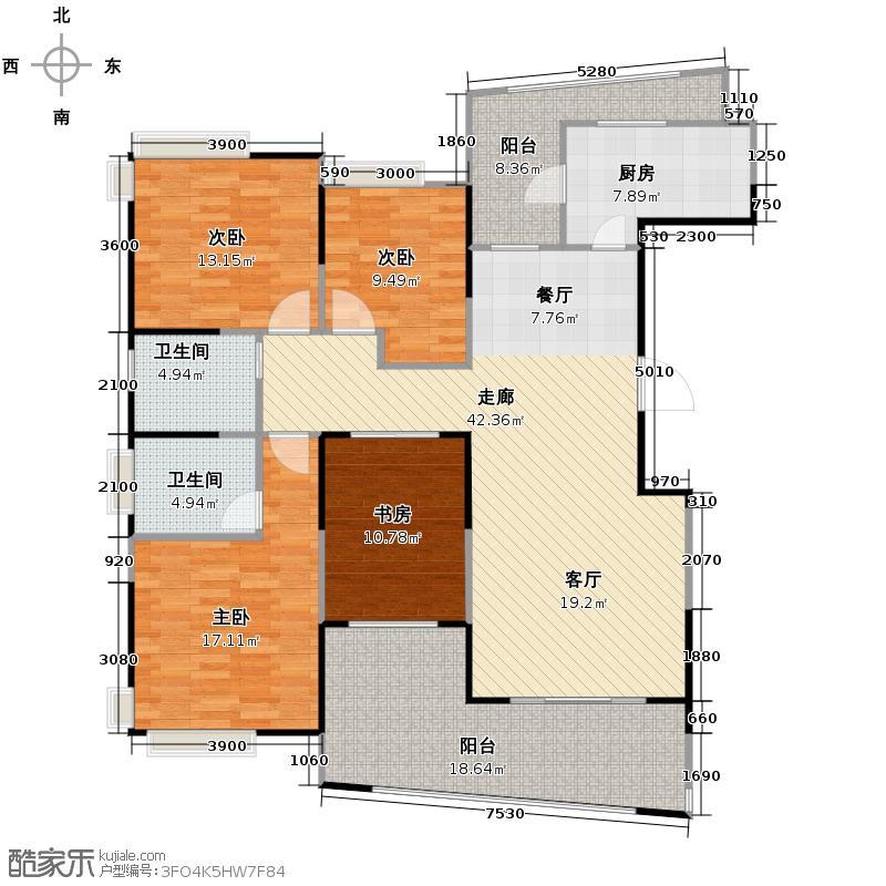 麓山国际社区高层豪宅茵特拉肯154.00㎡L型户型4室2厅2卫