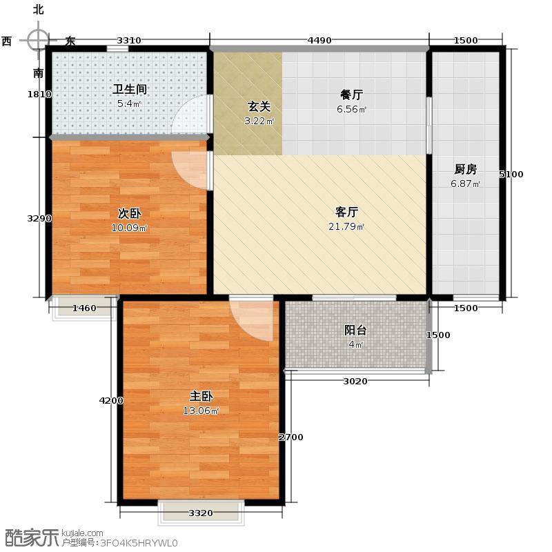 晟方佳苑80.11㎡D户型2室1厅1卫1厨