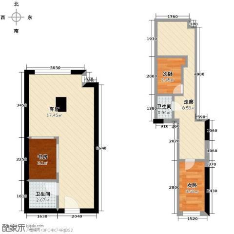 宝能青春汇3室2厅2卫0厨45.00㎡户型图