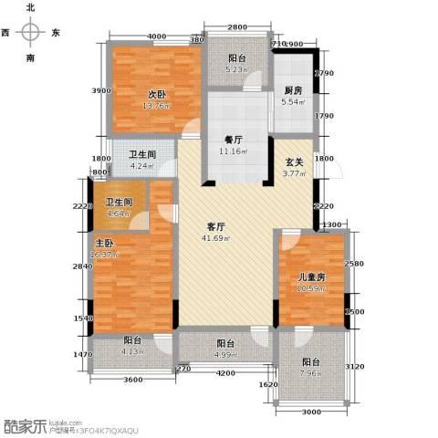金地滟澜山3室2厅2卫0厨121.00㎡户型图