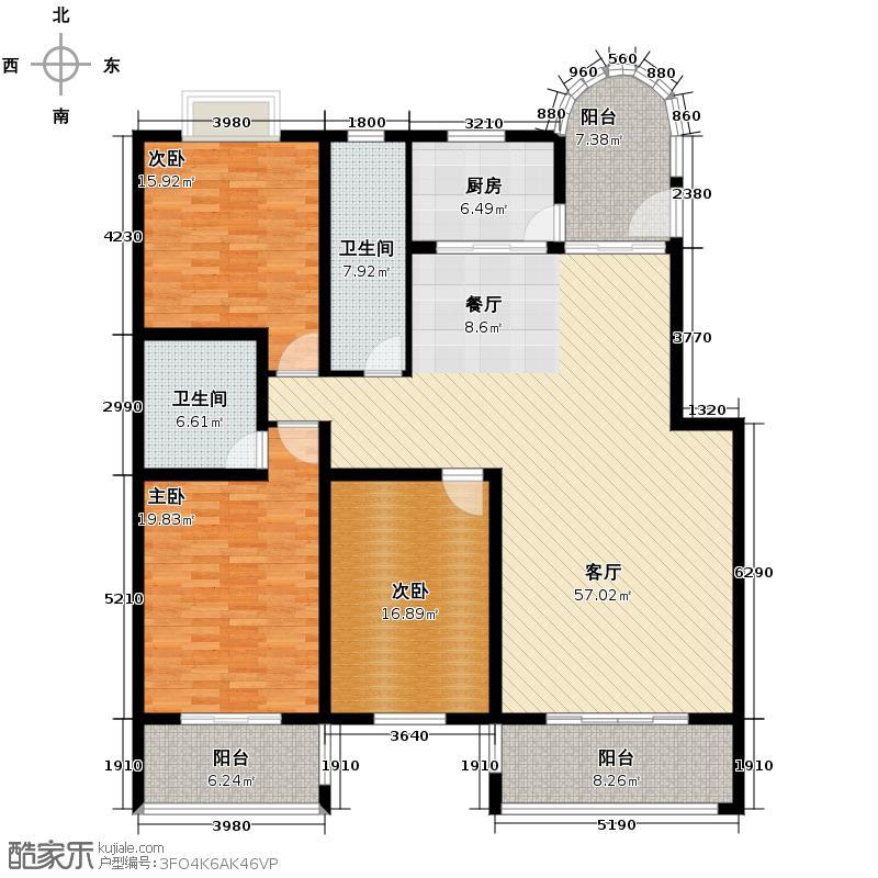 亚麦山城171.00㎡三期D户型3室1厅2卫1厨
