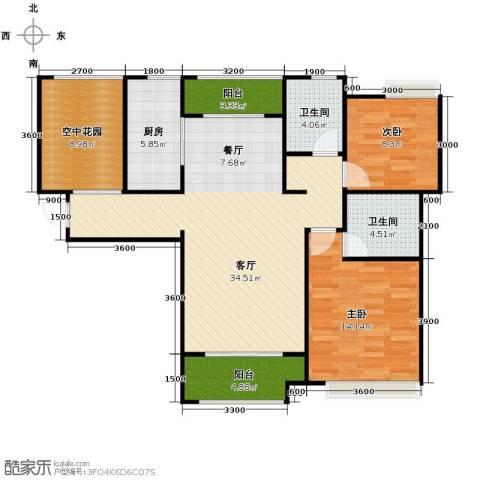 紫御府2室2厅2卫0厨108.00㎡户型图