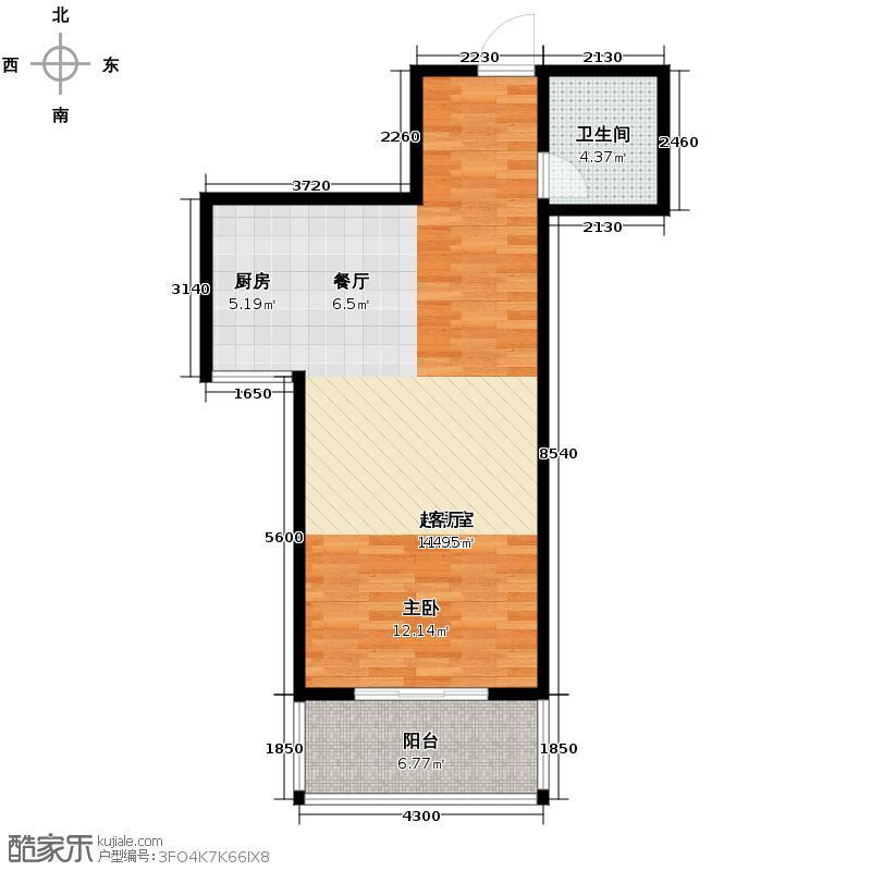 轿顶山花园65.00㎡户型1室1厅1卫