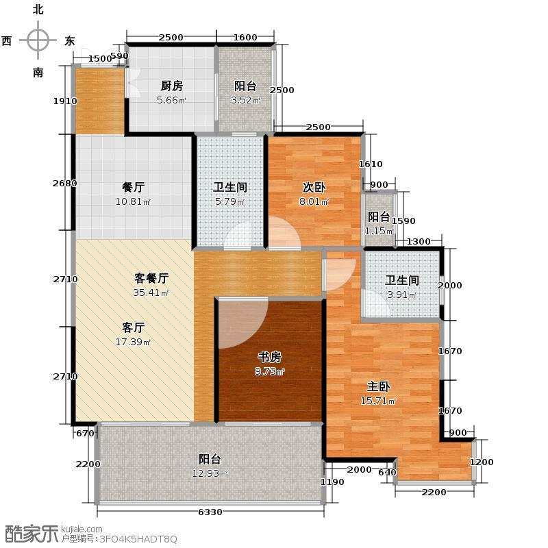 融汇温泉城90.99㎡6#楼融汇国际温泉城户型3室1厅2卫1厨