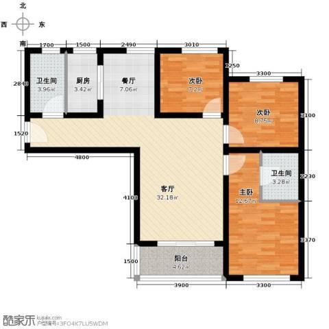 新世家小区2室2厅2卫0厨114.00㎡户型图
