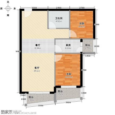 新世家小区2室2厅2卫0厨95.00㎡户型图