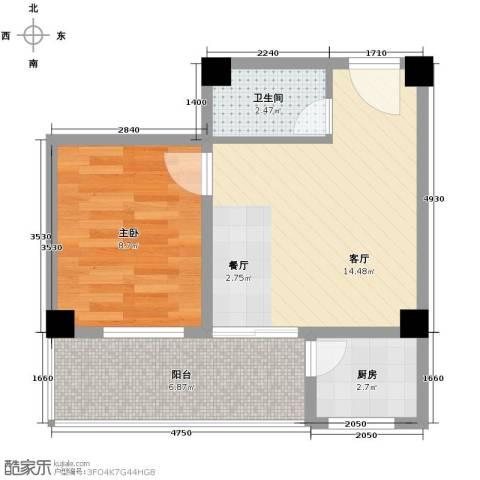 锦绣嘉园1室1厅1卫1厨51.00㎡户型图