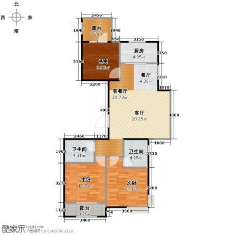 天成・明月洲3室2厅2卫0厨116.00㎡户型图