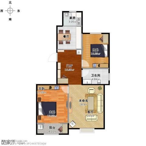 溪谷港湾2室1厅1卫1厨97.00㎡户型图