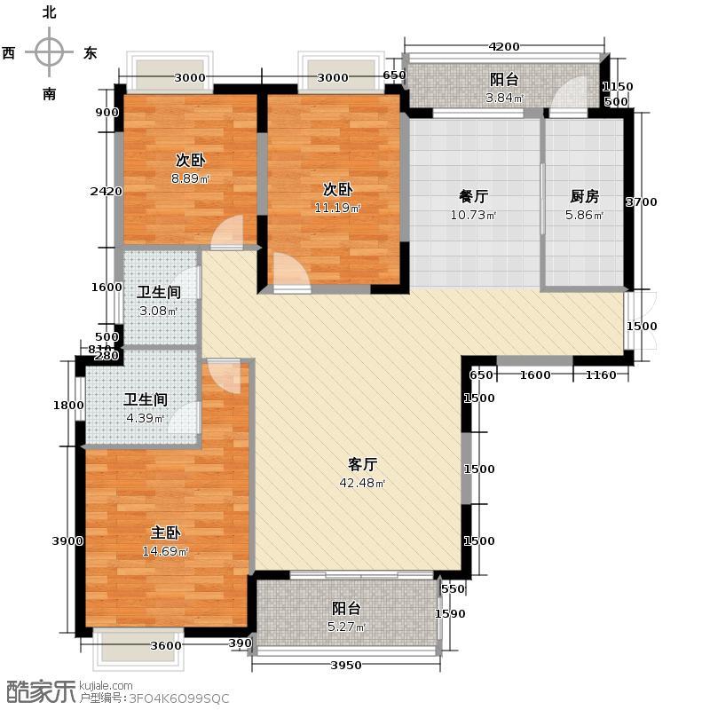 凤凰御景139.16㎡A1标准层户型3室2厅2卫
