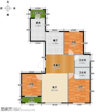 天成・明月洲3室2厅2卫0厨122.00㎡户型图