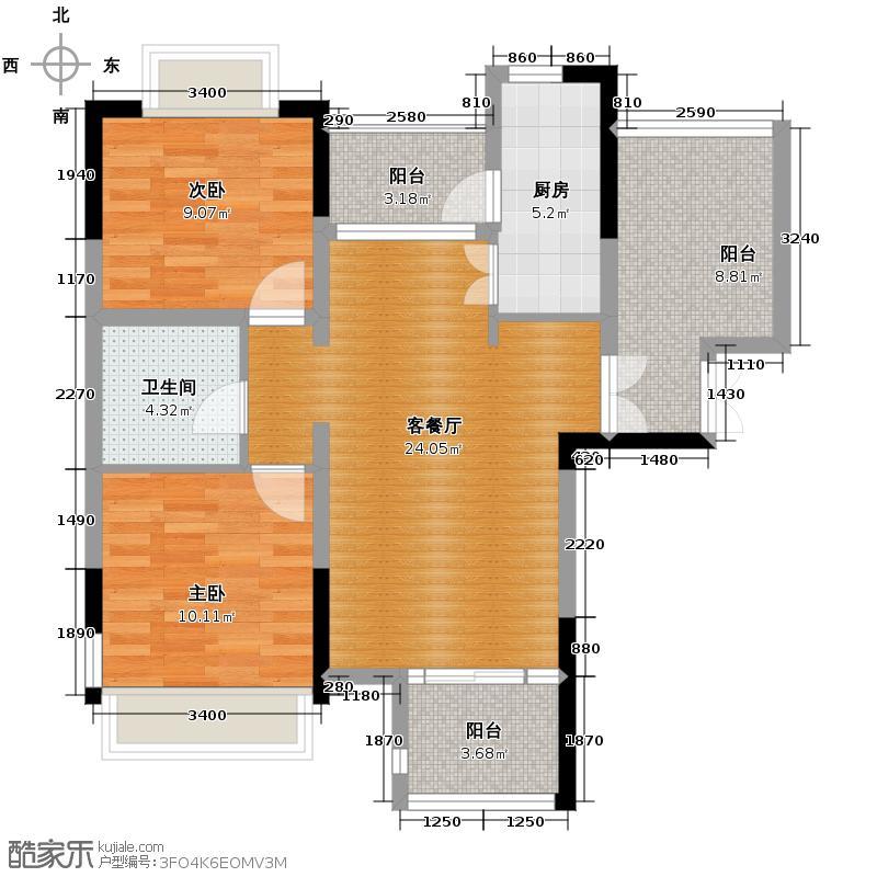 欧莱雅郡91.47㎡高层板楼户型2室2厅1卫