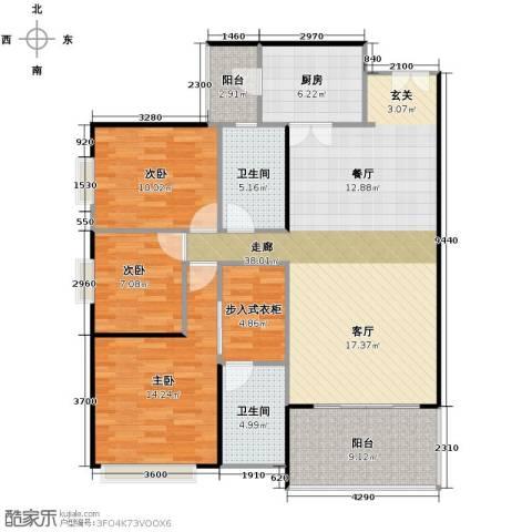 鹏达・丽水湾3室2厅2卫0厨143.00㎡户型图