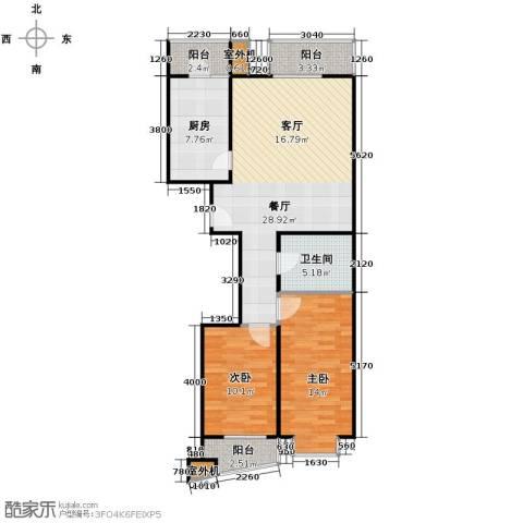 上上城青年社区二期2室1厅1卫1厨103.00㎡户型图