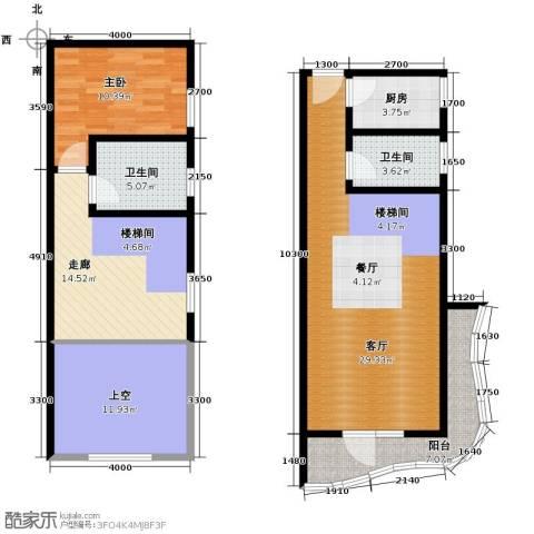青年都会1室1厅2卫1厨122.00㎡户型图
