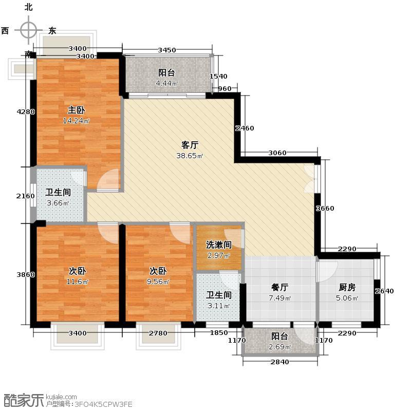 九洲国际131.62㎡C栋C7户型3室1厅2卫1厨