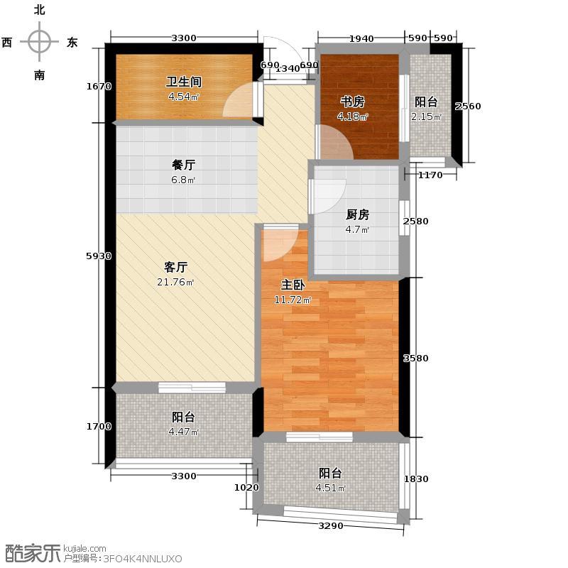 博仕后公馆73.90㎡02、03、06、07单元A32室户型2室1厅1卫1厨