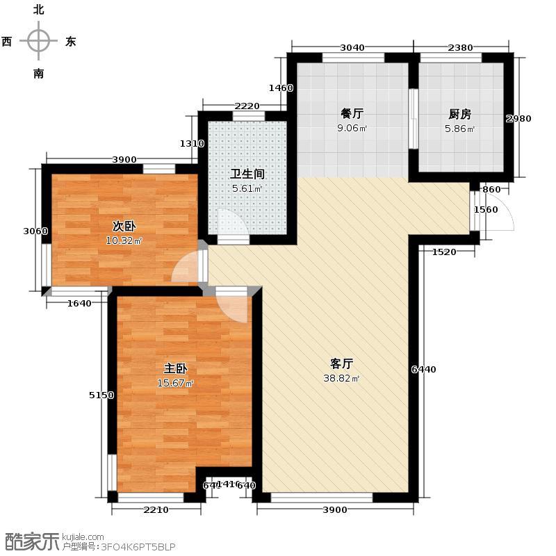 松江运河城86.59㎡户型2室2厅1卫