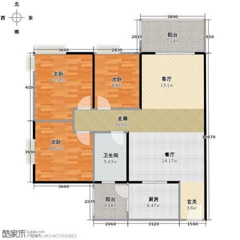 鹏达・丽水湾3室2厅1卫0厨116.00㎡户型图