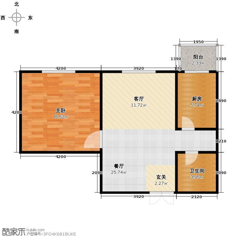 长风万景58.32㎡6号楼C1户型1室1厅1卫1厨