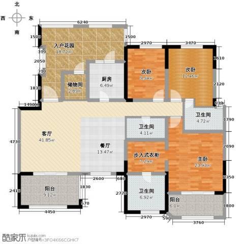 中环岛4室2厅3卫0厨168.16㎡户型图