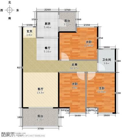 鹏达・丽水湾3室2厅1卫0厨96.00㎡户型图