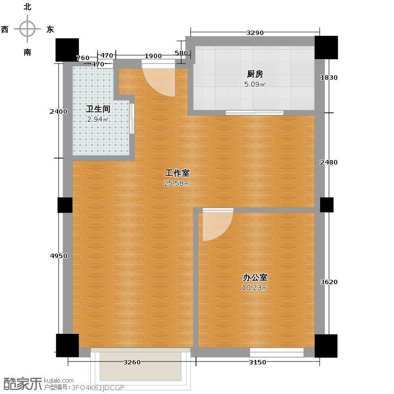 彩虹湖77.70㎡商务公寓2、3号楼I'户型1卫1厨