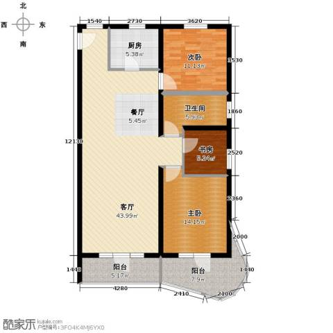青年都会3室1厅1卫1厨139.00㎡户型图