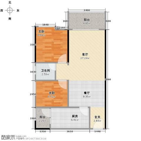 鹏达・丽水湾2室2厅1卫0厨72.00㎡户型图