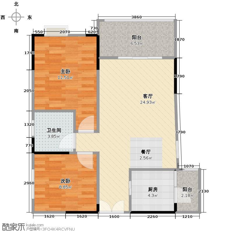 恒雨后现代城76.11㎡8号楼A1户型2室1厅1卫1厨