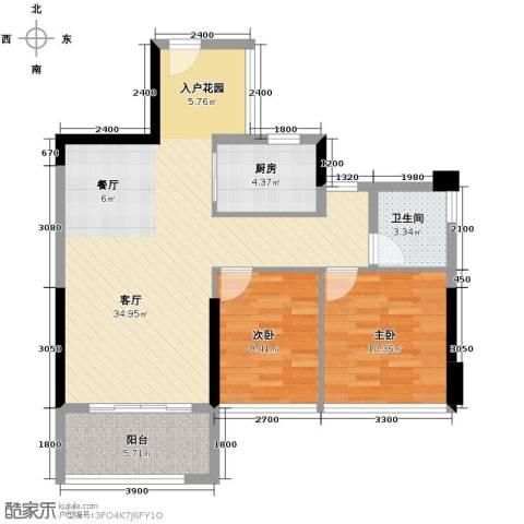 冠亚国际星城2室2厅1卫0厨84.00㎡户型图