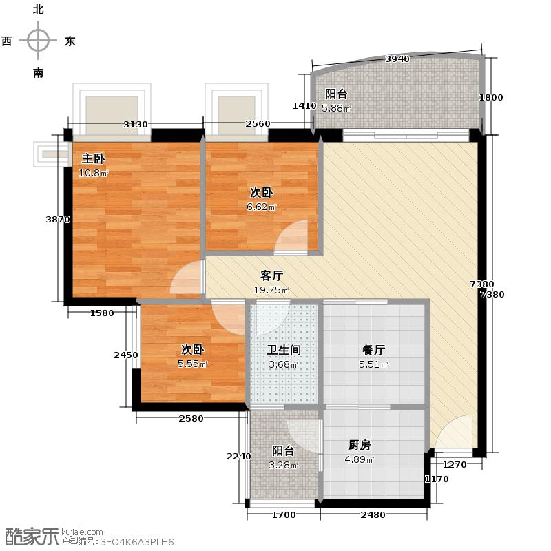富力金港城74.46㎡二期A1栋0106单位户型10室
